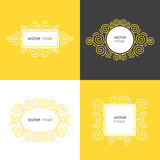 Set of decorative frame with copy space for text made in modern line style vector. Royalty Free Stock Photography