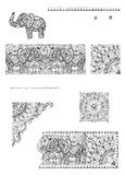 A set of decorative frames and design elements for cards, weddin. G invitations, menus, tattoo. Dotwork graphics, floral ornaments Stock Photo