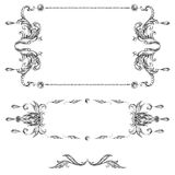 A set of decorative frames and design elements, floral ornaments Stock Images