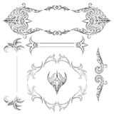 A set of decorative frames and design elements, floral ornaments Stock Photo