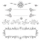 A set of decorative frames and design elements, floral ornaments Royalty Free Stock Image