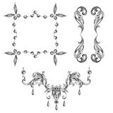 A set of decorative frames and design elements, floral ornaments Stock Photography