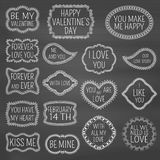 Set of decorative frames with flowers, swirls and hearts on chalkboard background. Lettering for Valentines Day or lowers.  Stock Photo