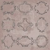 Set of decorative frames on grungy background Stock Photo