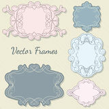 Set of decorative frames. Set of decorative ornate vector frames, pastel colors, retro style Stock Image