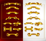Set of decorative gold banners on red and white Stock Image