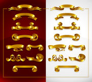 Set of decorative gold banners on red and white Royalty Free Stock Image