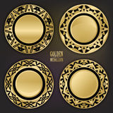 Set of Decorative Golden Laced Labels on Black. Set of Decorative Golden Medallions. Golden Laced Labels on Black. Flash Tattoo Metallic Items. Vector Royalty Free Stock Photo