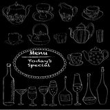 Set of decorative hand drawn elements for restaraunt.. Royalty Free Stock Images