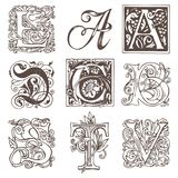 Set of decorative hand drawn initial letters. Vector set of nine decorative hand drawn initial letters. English letters in vintage style. Fancy letters with vector illustration