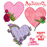 Set of 3 Decorative handdrawn floral hearts, calligraphic texts Stock Photography