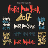 Set of 8 decorative handdrawn lettering. Modern ink calligraphy. Handwritten colorful phrases Happy New Year isolated on black background. Trendy vector design vector illustration