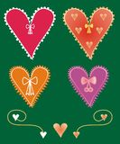 Set of decorative heart shapes Stock Photos