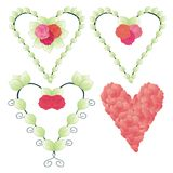 Set of decorative heart shapes. With roses and leaves stock illustration