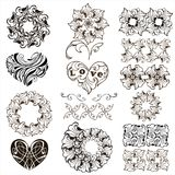 Set of decorative hearts, floral design elements, borders isolated on white background... Set of decorative hearts, floral design elements, borders isolated on Stock Images