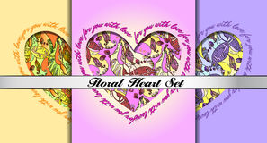 Set of decorative hearts with floral ornament. Stock Photography