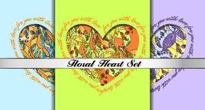 Set of decorative hearts with floral ornament. Royalty Free Stock Photos