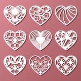 Set of decorative hearts for laser cutting. Vector illustration royalty free illustration