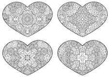 Set of decorative hearts. Vector template mandala for decorating greeting cards of Valentine`s day, coloring books, print for t-shirt and textile Stock Photography
