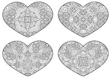 Set of decorative hearts. Vector template mandala for decorating greeting cards of Valentine`s day, coloring books, print for t-shirt and textile Royalty Free Stock Photography