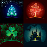 Set of decorative holidays cards. Christmas, st.Valentine day, st.Patrick and Halloween royalty free illustration