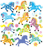 Set with decorative horses Royalty Free Stock Photos