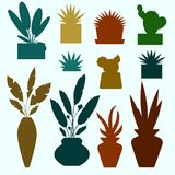 Set of decorative house plants and flowers colorful silhouettes vector illustration. Pot fake plant isolated on white. Decorative plants and flowers silhouettes Stock Image