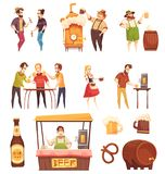 People Drinking Beer Decorative Icons Set Royalty Free Stock Images