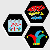 Set of decorative icons for Holidays April Fool's Day. Stock Images