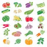 Set decorative icons vegetables. Stock Image