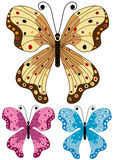 Set decorative isolated butterflies Stock Photos