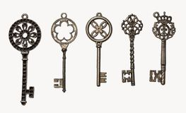 Set of decorative keys. A set of five decorative keys. Isolated on white Stock Images
