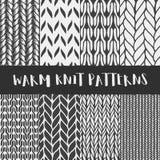 Set of 8 decorative knit seamless patterns. Royalty Free Stock Photo