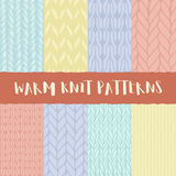 Set of 8 decorative knit seamless patterns. Royalty Free Stock Photography