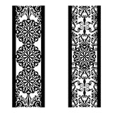 Set of decorative lace borders. Ornamental panels with floral pattern. Flowers and leaves. Set of bookmarks templates. Image. Set of decorative lace borders stock illustration