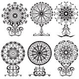 Set of decorative lace flowers. Vector illustration Royalty Free Stock Photos