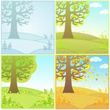 Set of decorative landscapes seasons Stock Photos