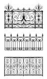 Set of decorative lattices. Black forged decorative lattices isolated on white background Royalty Free Stock Photography