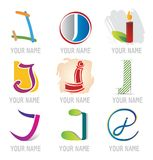 Set of Decorative Letters J - Icons and Elements Royalty Free Stock Photos