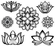 Set of  decorative lotuses Stock Photos