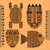 Set  decorative mask, fish, turtle, african ornament. Set of ornamental African masks, turtles, fish. Ethnic patterns for design.  vector illustration Royalty Free Stock Photography