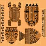 Set decorative mask, fish, turtle, african ornament. Set of ornamental African masks, turtles, fish. Ethnic patterns for design. vector illustration royalty free illustration