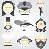 Set of Decorative men speech bubble Royalty Free Stock Image