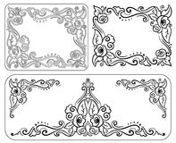 Set of decorative monochrome vintage frame with roses. For congratulations on his birthday, valentine day, wedding invitations and greeting cards vector illustration