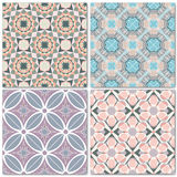 Set of 4 decorative mosaic seamless patterns. Endless prints with geometric ornaments in light pastel shades. Colorful repeating artistic backdrop. For cloth Stock Image