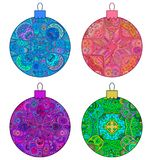 Set of decorative multicolor  Christmas balls. Royalty Free Stock Photo