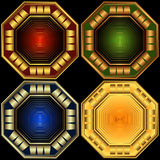 Set decorative octagonal frames. Set decorative elegant octagonal frames on a black background Stock Photos