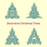 Set of decorative oriental stylized Christmas trees Royalty Free Stock Photography