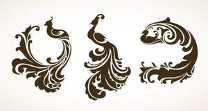 Set decorative ornament birds. Set vector illustrations ornamental birds. Decorative abstract birds Stock Photo