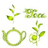 Set of decorative ornament tea Stock Photos